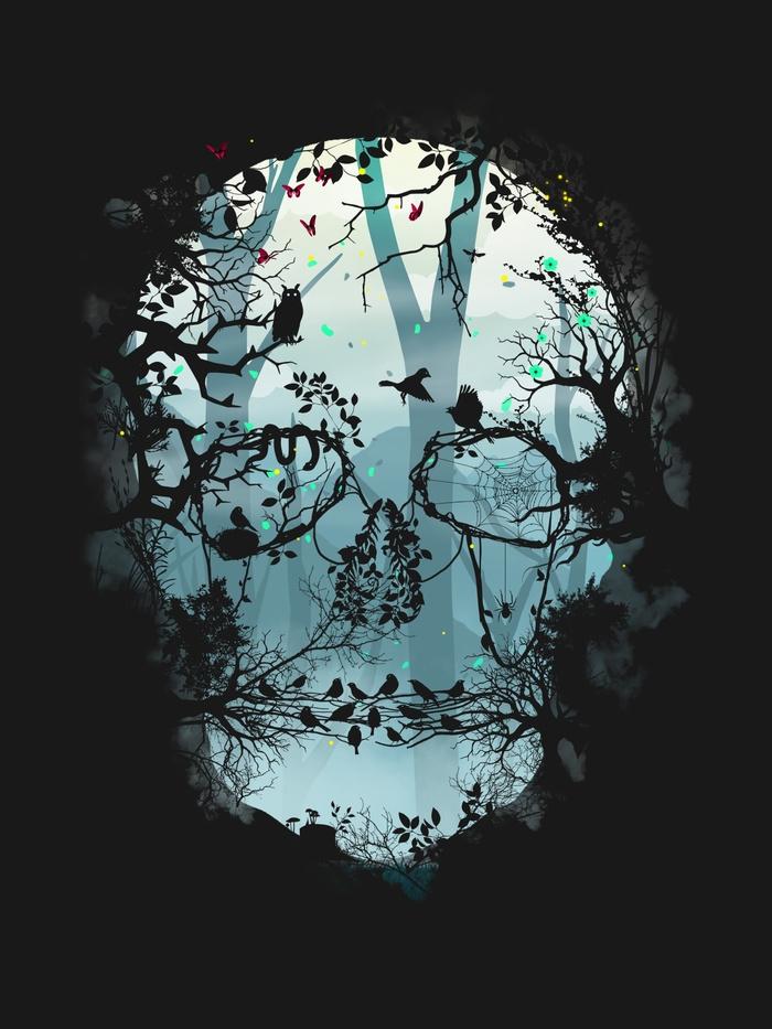 Dark Forest Skull - forest, skull - sitchko | ello