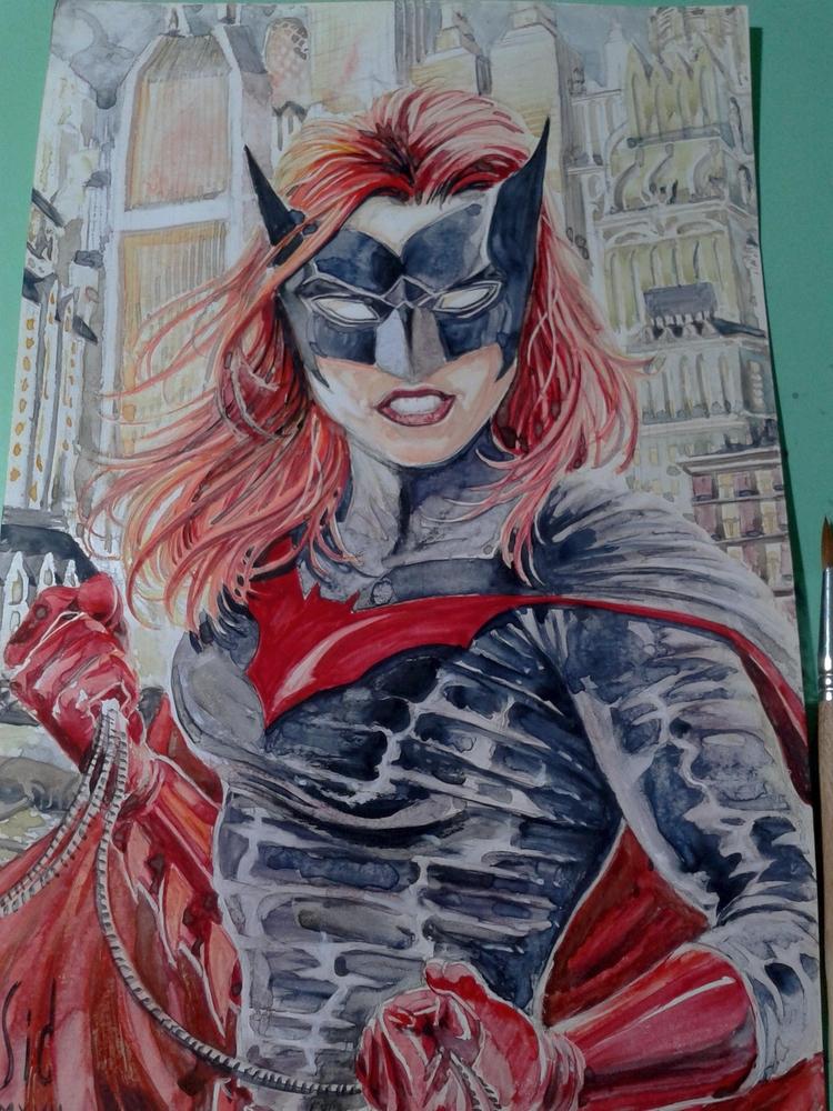Batwoman watercolor couchet pap - sidteles | ello