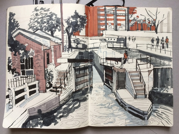 Sketchbook drawing Somers Town  - alexgreendraws | ello