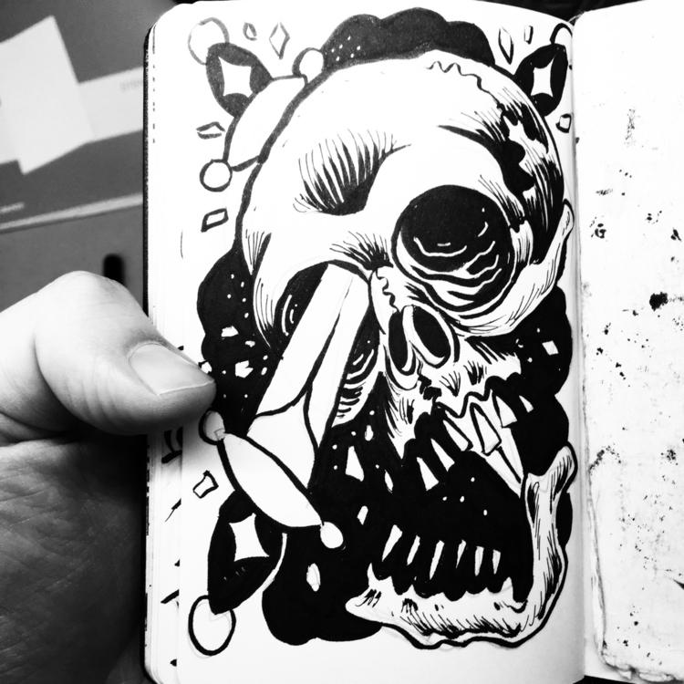 case Mondays - skull, knife, ink - royallyeric | ello