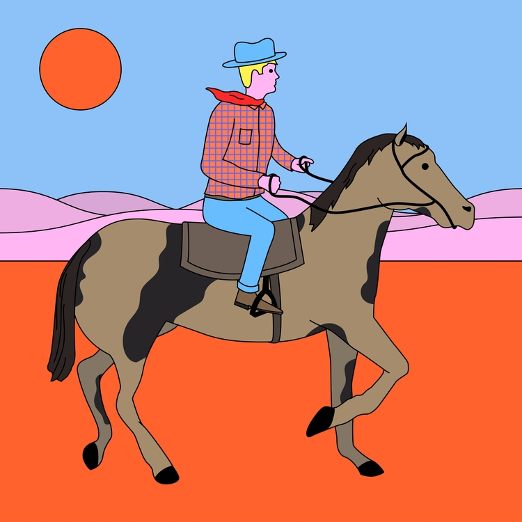 Cow Boy Dream - cowboy, illustration - molonom | ello