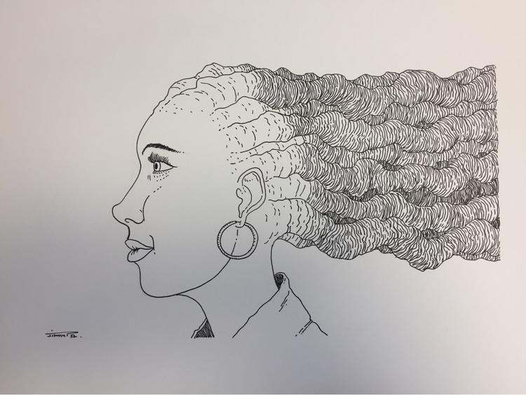 Strange hair - illustration, drawing - jimmy-draws | ello