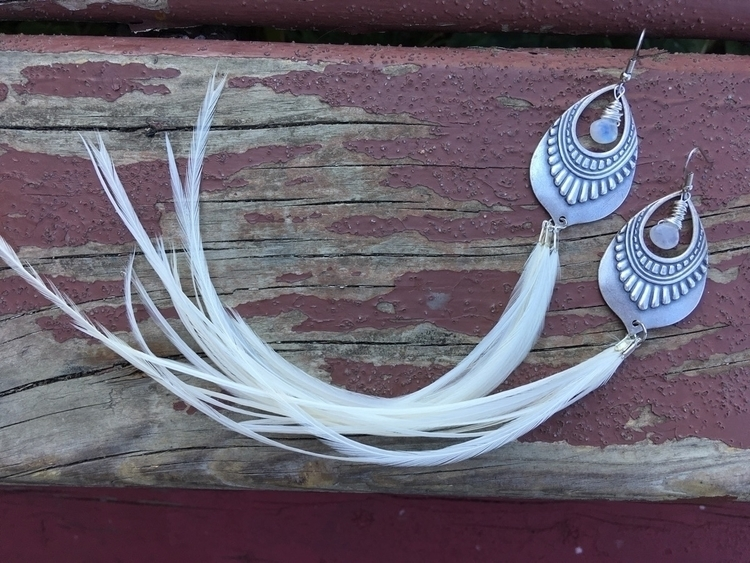 Ivory feather earrings moonston - kookoomamadesign | ello