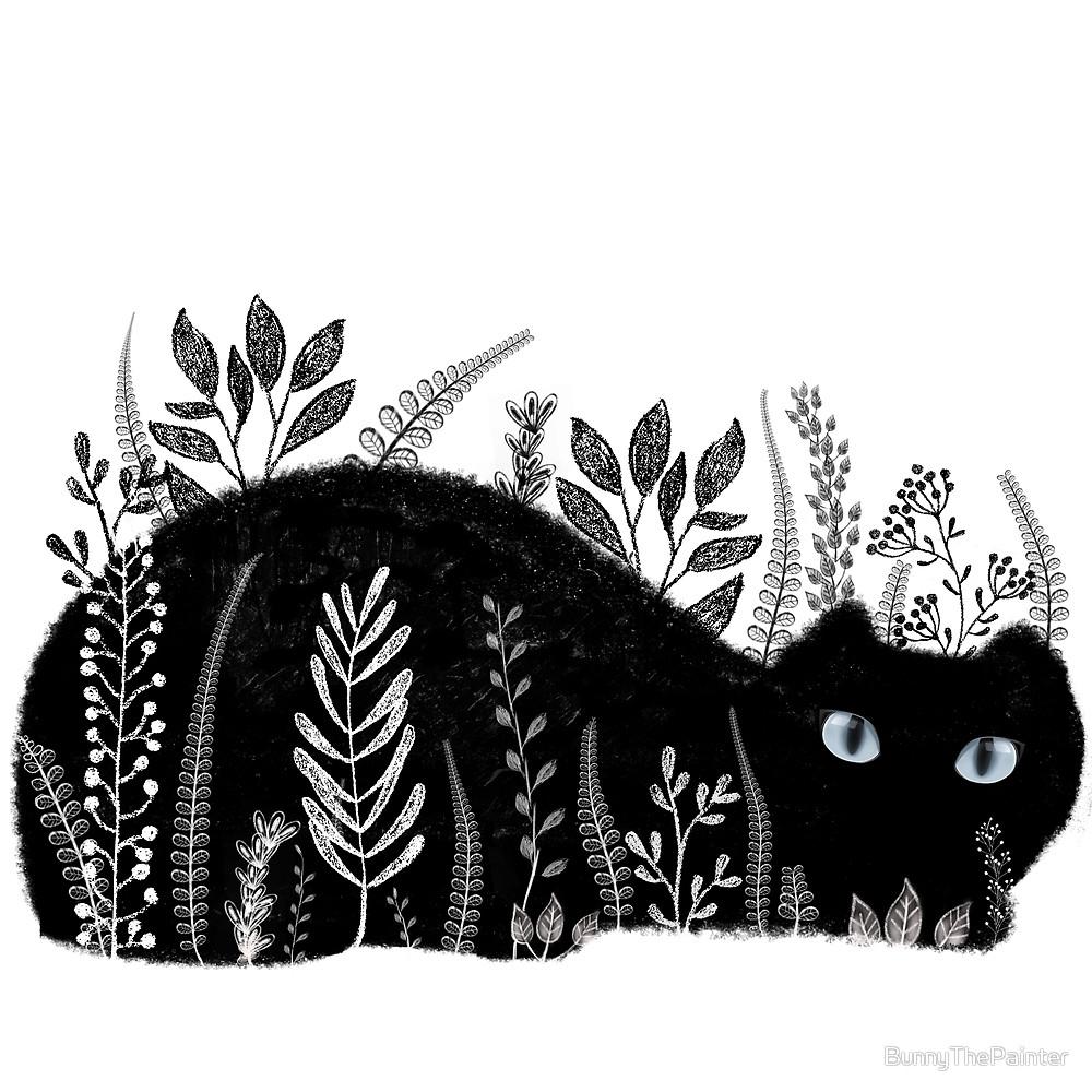 Garden Cat Black White piece ba - littlebunnysunshine   ello