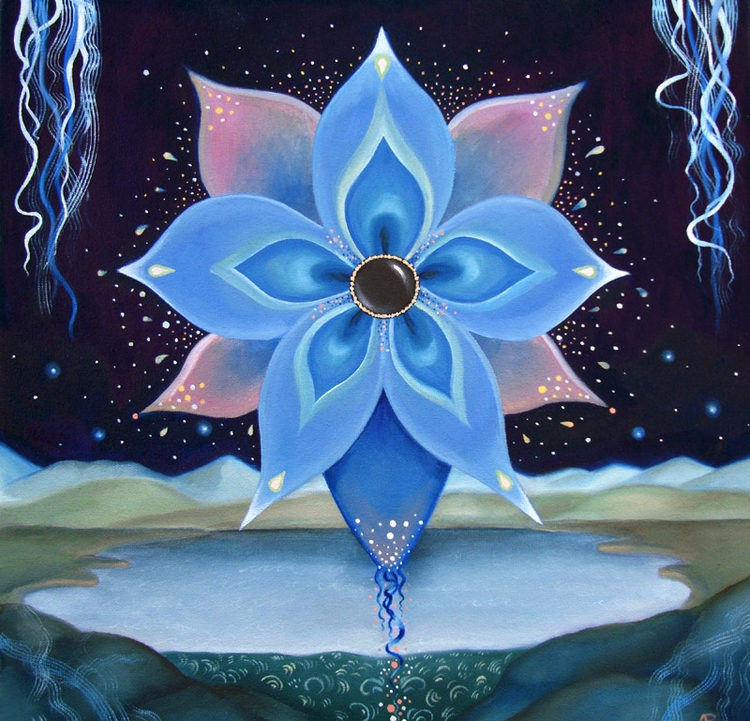 Blue Flower, 16x16 oil canvas - arabella   ello