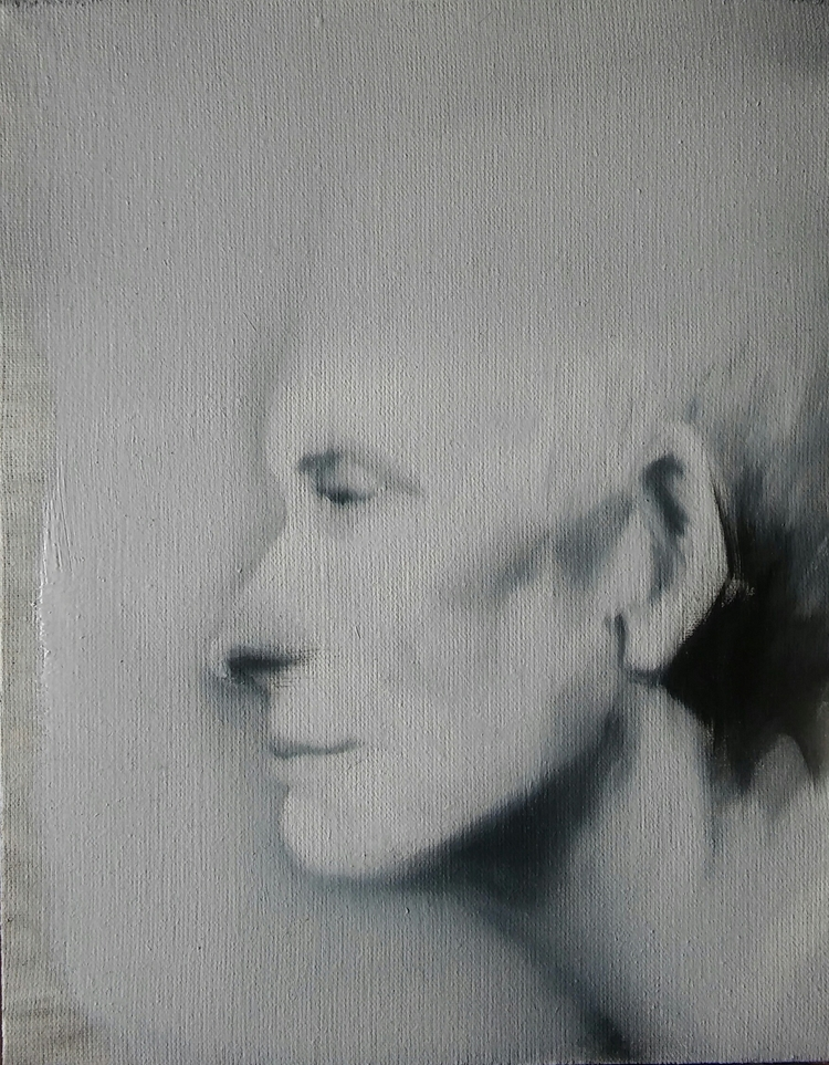 portrait, oil, canvas, 23x18cm#blackandwhite#2017 - judytakrawczyk | ello