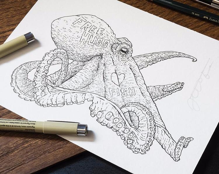 inking practice/study. friendly - jferreirastudio | ello
