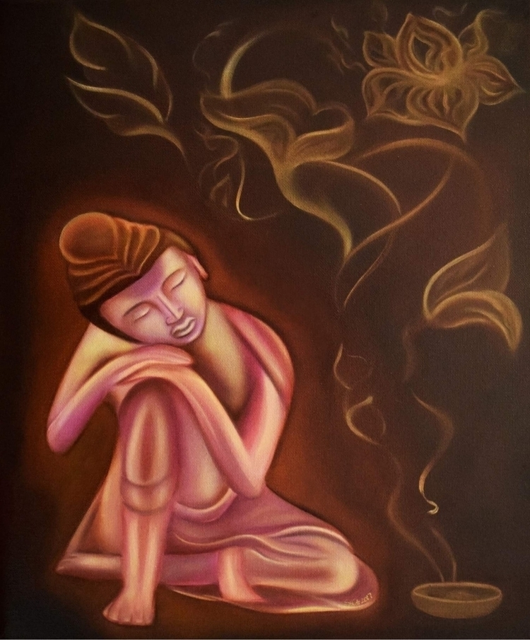 'Daydreaming Buddha,' Oil canva - artofsya | ello