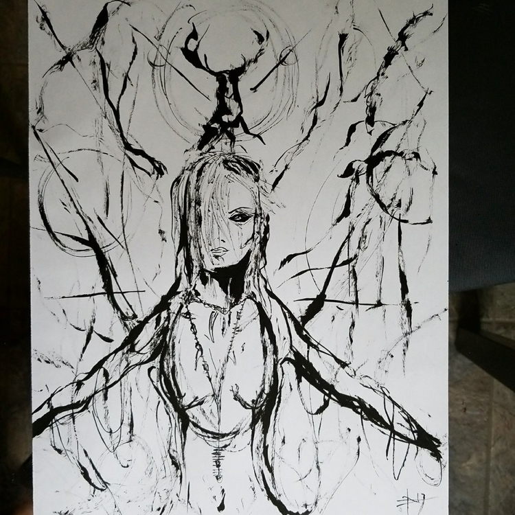 Doe 11x14 freehand brushed ink  - danhawksworth | ello