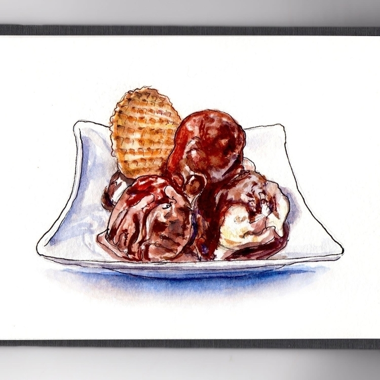 - Day 13 Ice Cream Treat - WorldWatercolorMonth - doodlewash | ello