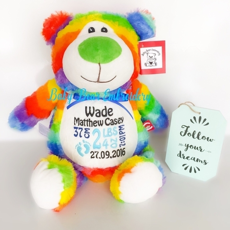 huggable guy rainbow bear Wade  - babybearembroidery | ello