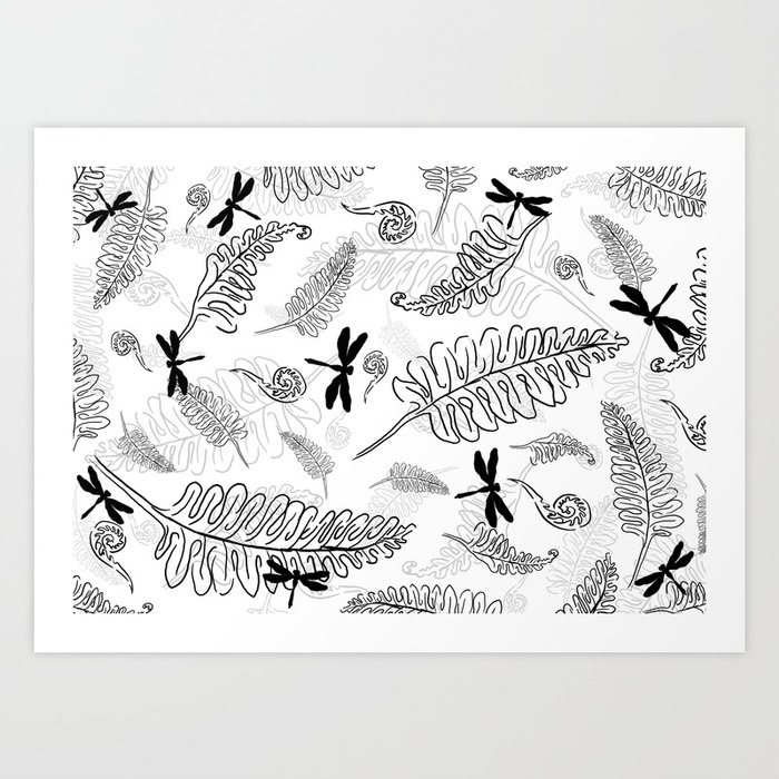 fern, dragonfly, blackandwhite - miideegrafiche | ello