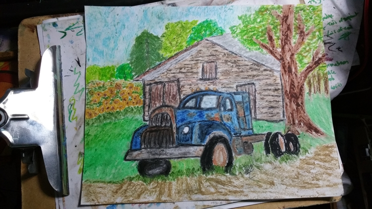 farm truck. Oil pastel drawing - totallytwistedfickity | ello