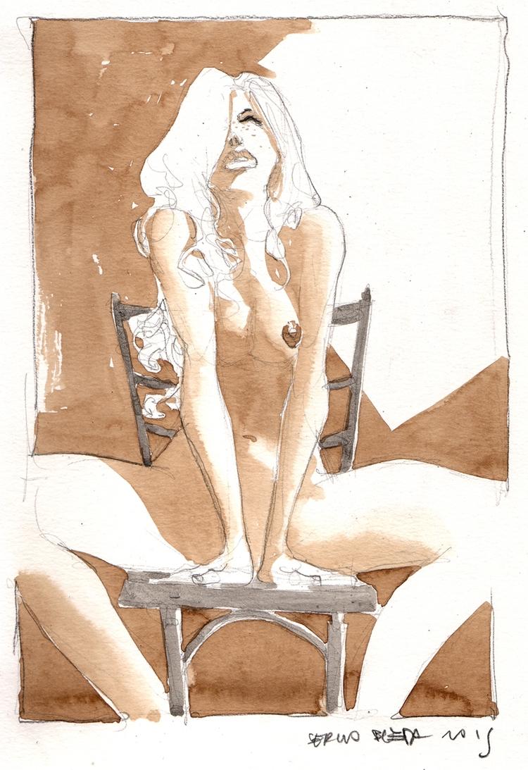 Sitting girl - eroticart - sergiobleda | ello