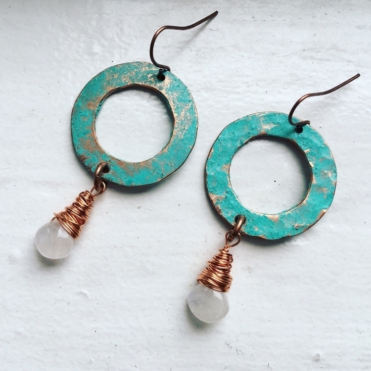 simple verdigris copper hoops m - kookoomamadesign | ello