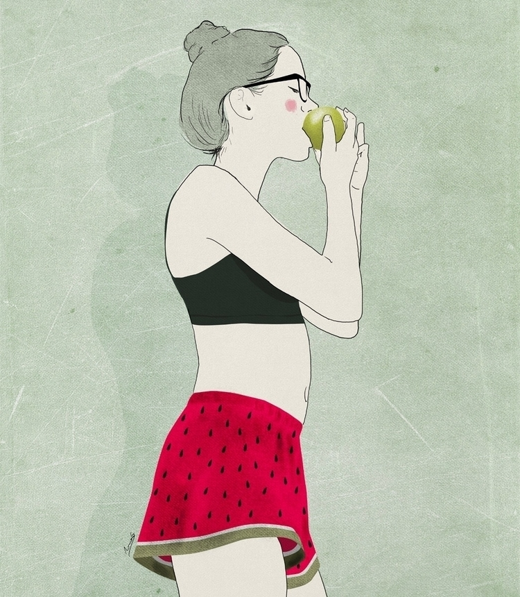 fancy apple - illustration, drawing - roma_gutierrez   ello