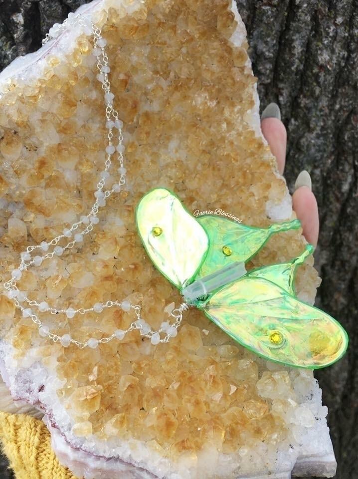 Luna moth necklace faceted rain - faerieblessings | ello