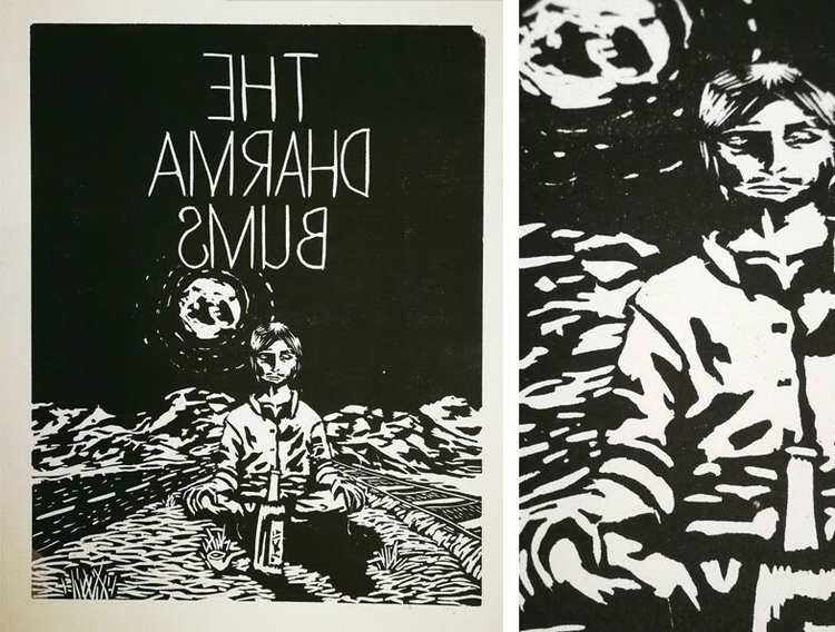 Lino print Dharma Bums book cov - bevinrichardson | ello