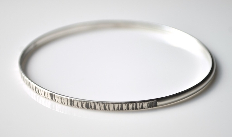 Textured Silver Bangle - tiger  - mineralrare | ello