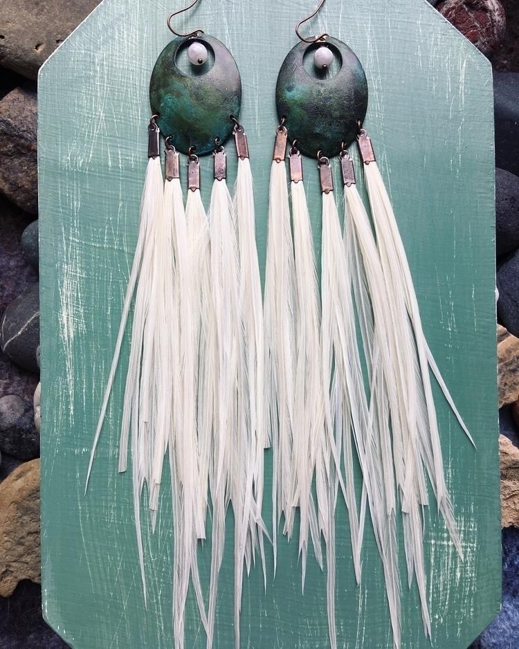 Super full ivory feather earrin - kookoomamadesign | ello