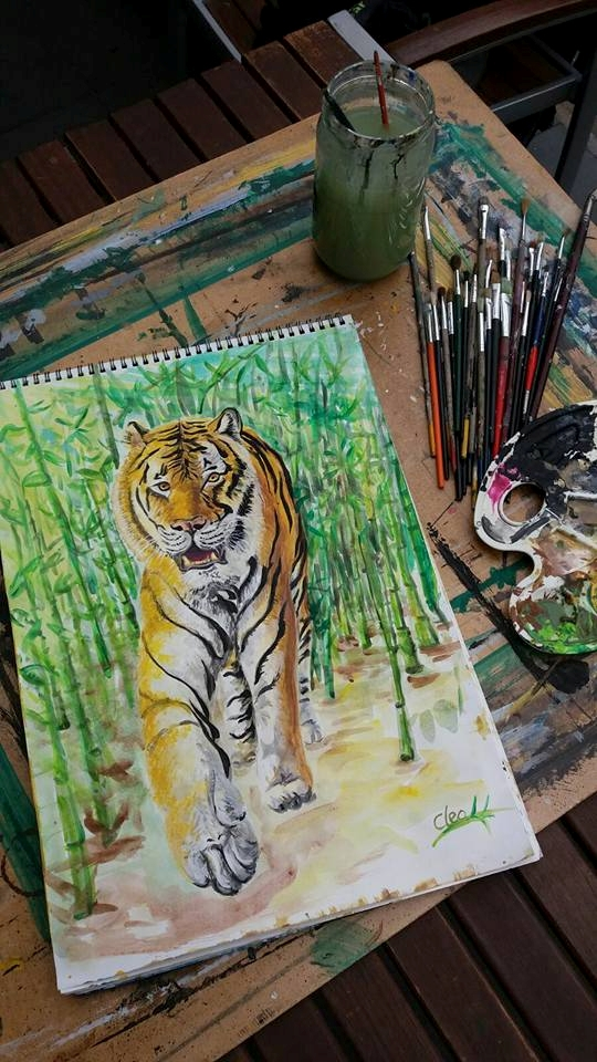 painting, acrylic, watercolor#tiger - cleoart | ello