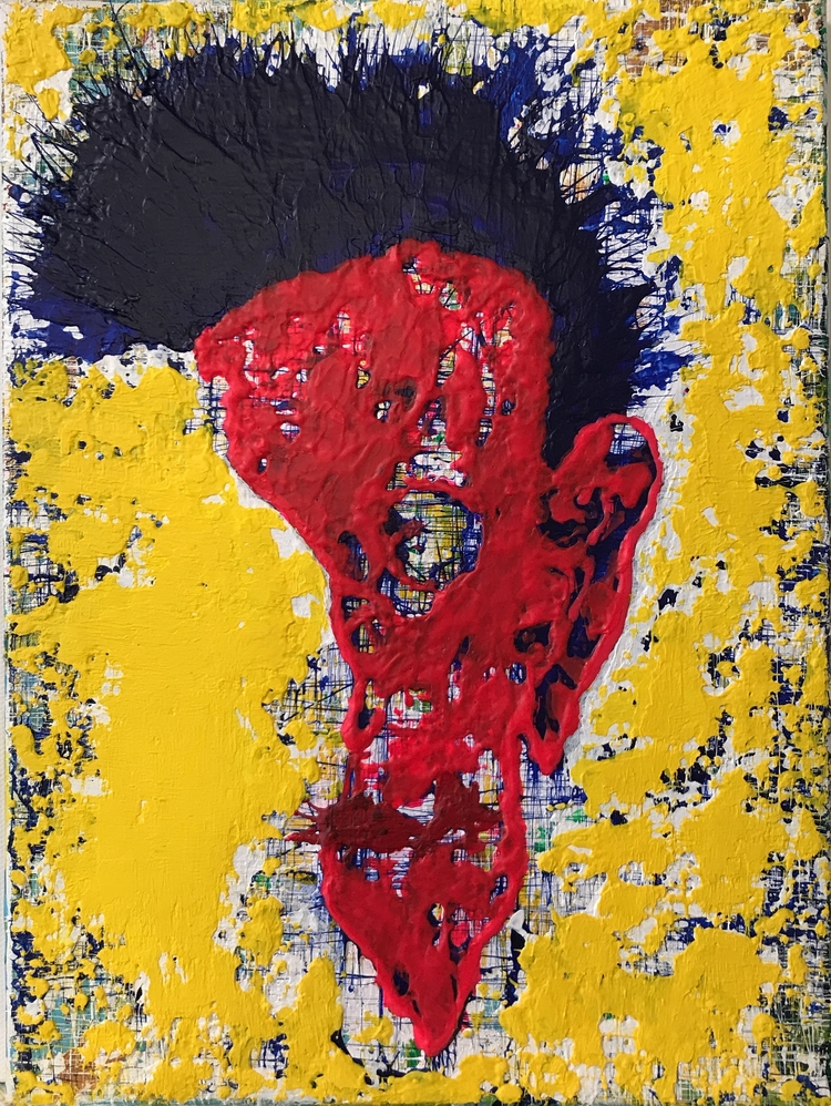 "punk 9""x12"" acrylic canvas $275 - nuisms | ello"