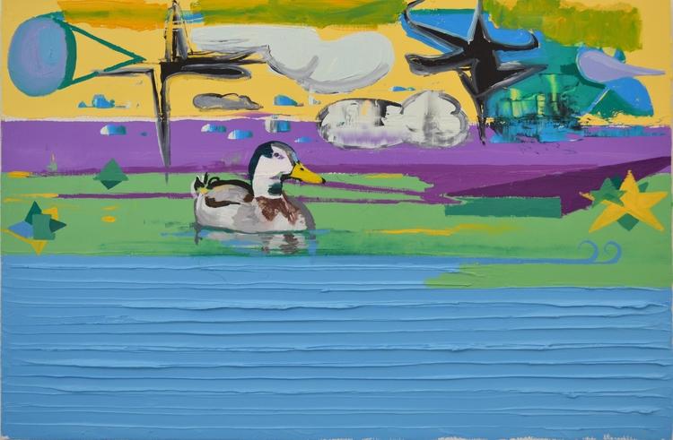 Duck pond, 2017. Oil wood, 40x6 - albertzwaan | ello
