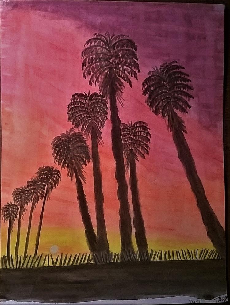 Palm Road 6x9 watercolor - donebyme - teerivsaid | ello