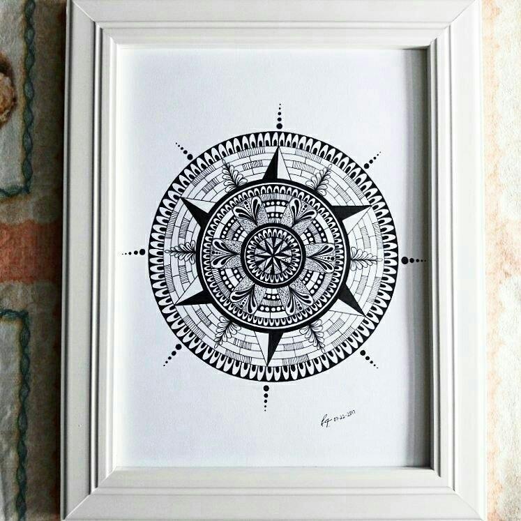 Mandala drew night! nice frame - eeveeartist | ello