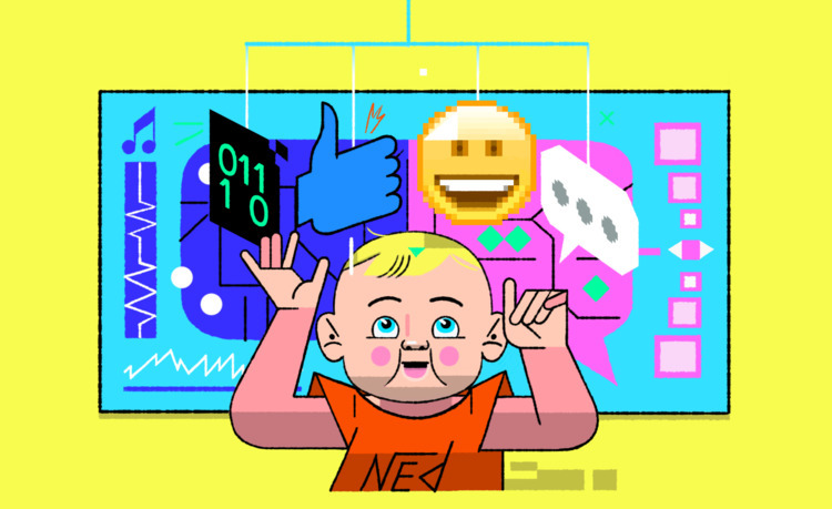 excited share set illustrations - computer_craphics | ello