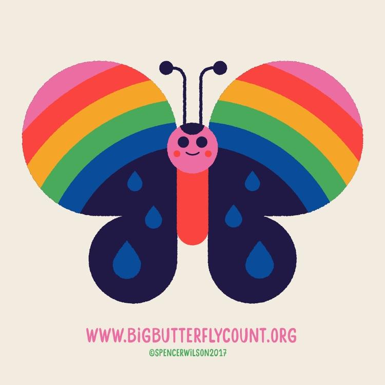 Rainbow Butterfly rainy day - thebigbutterflycount - spencerwilson | ello