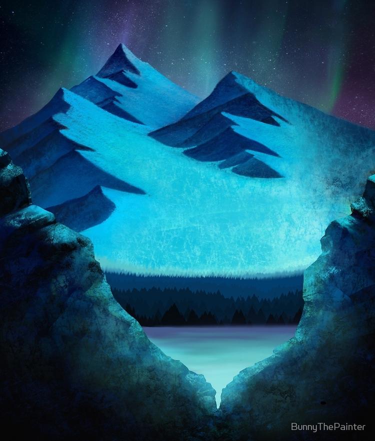 Aurora Borealis Mountain Pass p - littlebunnysunshine | ello