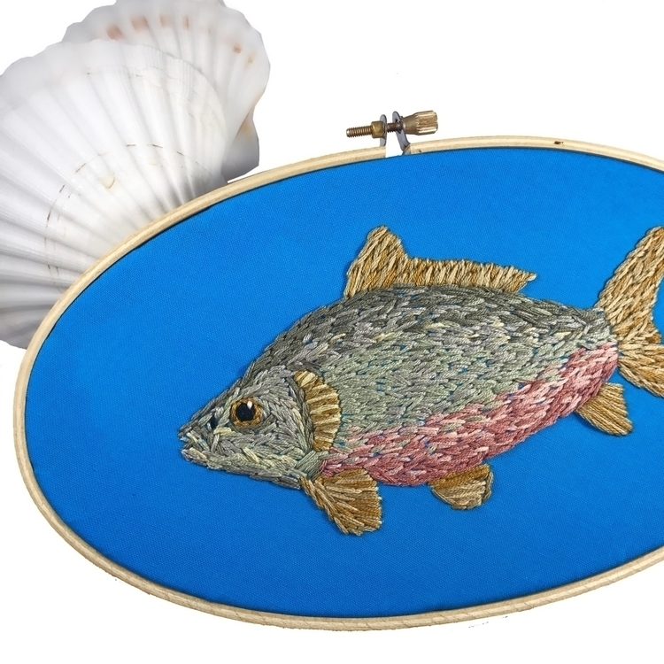 finished embroidered fish hoop  - sewnbythebeach | ello