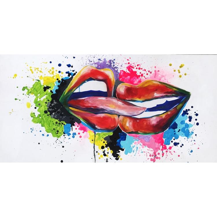 BOCAS / Acrylic oil canvas - beso - gomezzvergara | ello