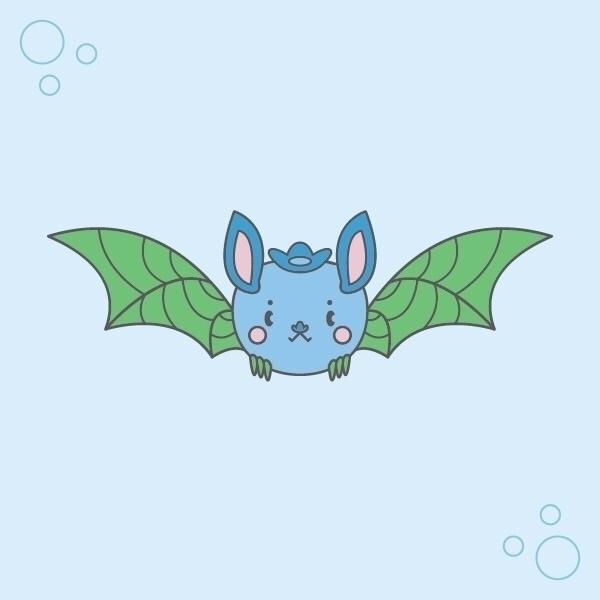 blueberry bat distant relative  - nightlymade | ello