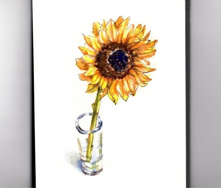 - Day 27 Lone Sunflower - WorldWatercolorMonth - doodlewash | ello