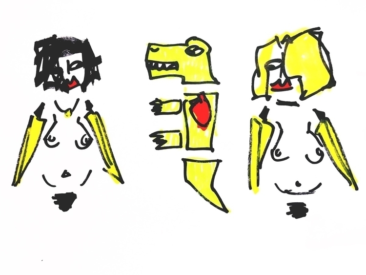 Dude, pet dinosaur love (Banana - jkalamarz | ello