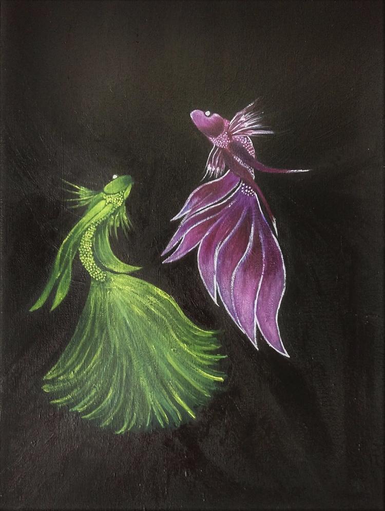Beta Fish . canvas - acrylics, painting - haleh_creates | ello
