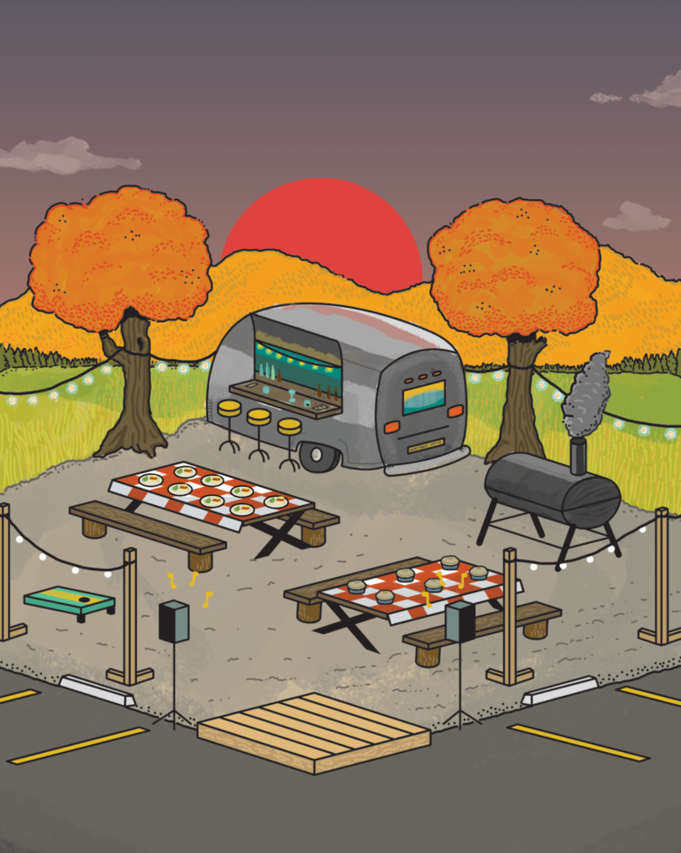 illustration parking lot party  - maplekeystudio | ello
