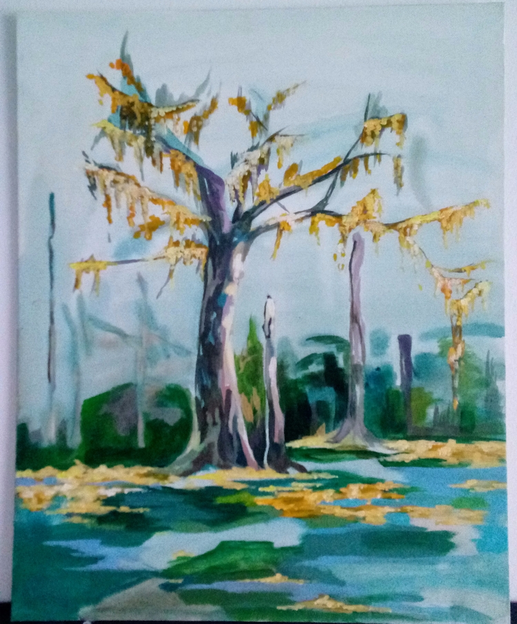 Flat panel acrylic paintings - tree - meatballvizzy | ello