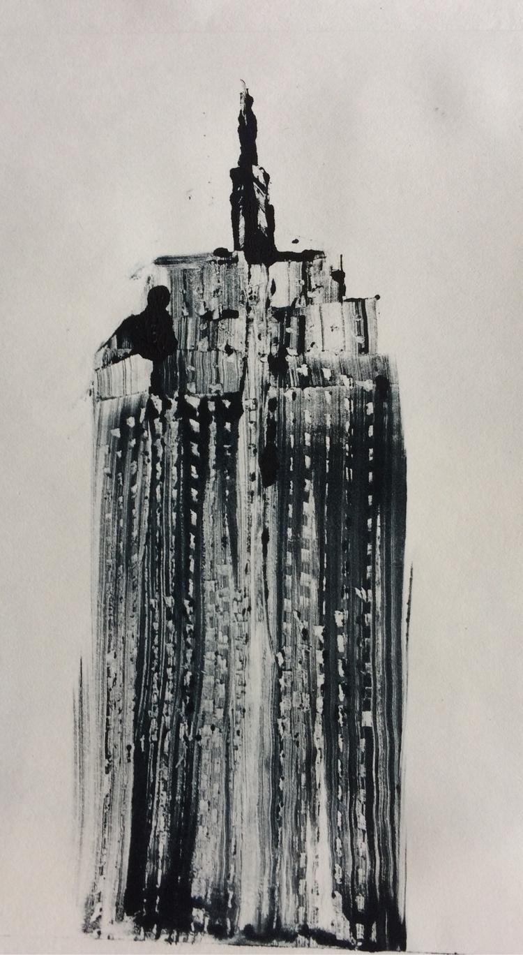 skyscraper, monotype - gsuarez | ello