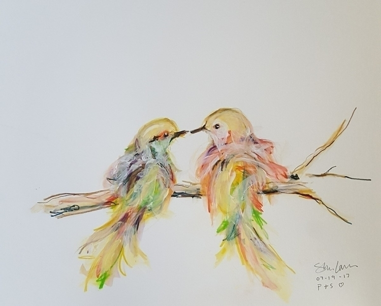 Lovebirds. Watercolor acrylic b - stevenlarson | ello