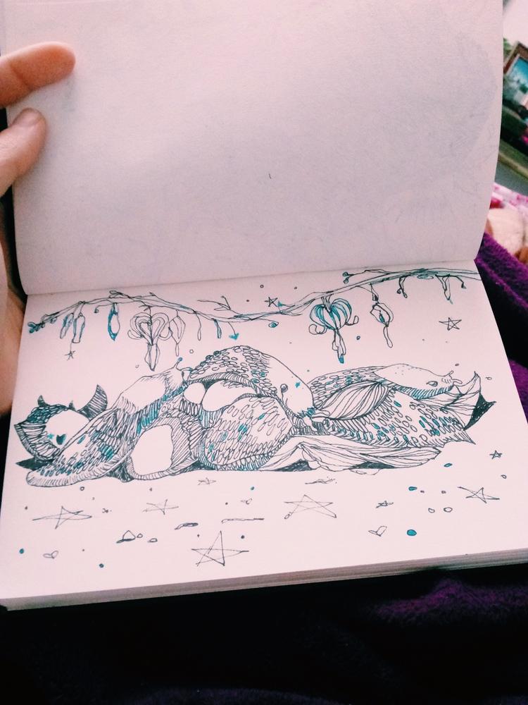 Sleeping Slugs - drawing, ello, ink - meatballvizzy | ello