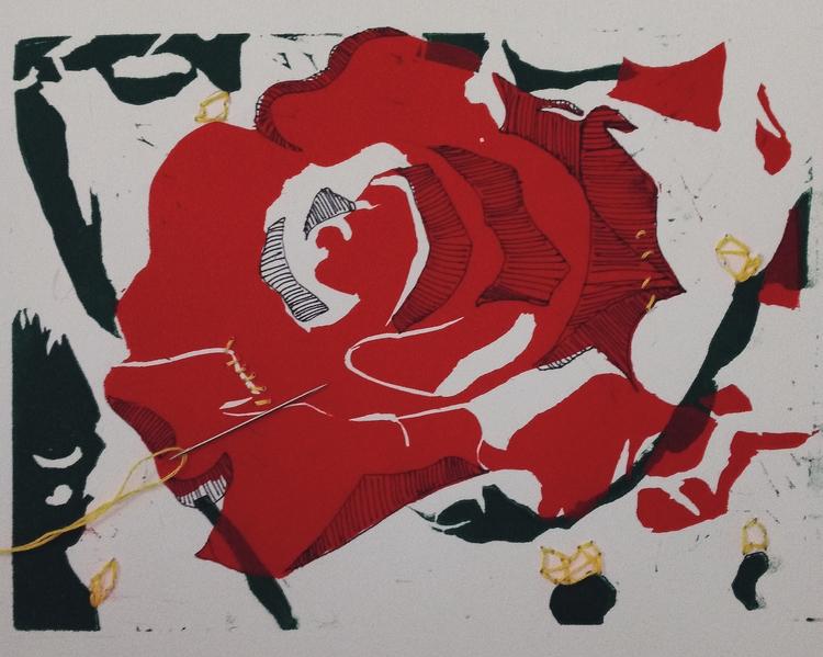 printmaking, relief, rose, embroidery - meatballvizzy | ello