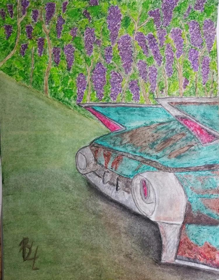 V8 car vineyard. Art Oil pastel - totallytwistedfickity | ello