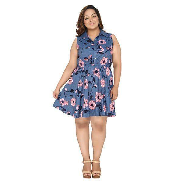 Size Denim Fit Flare Dress - calae_plus_size_store | ello