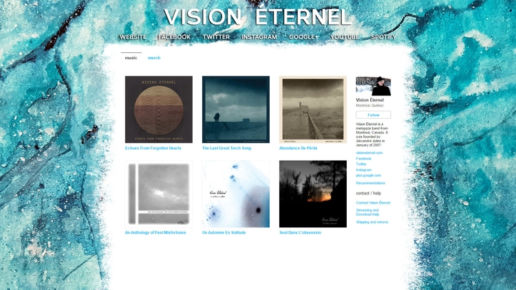 Vision Bandcamp page redesigned - visioneternel | ello