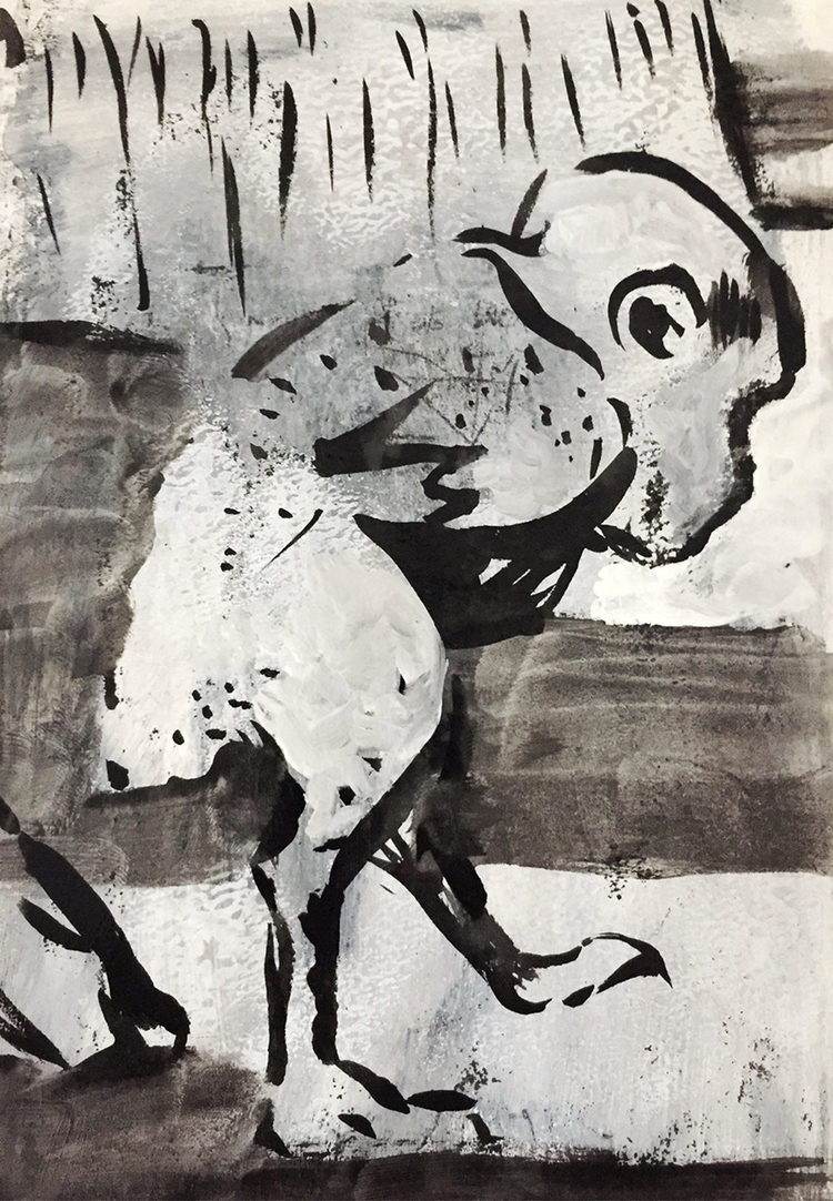 Chicken man Goya). Ink gouache  - davidnavas   ello