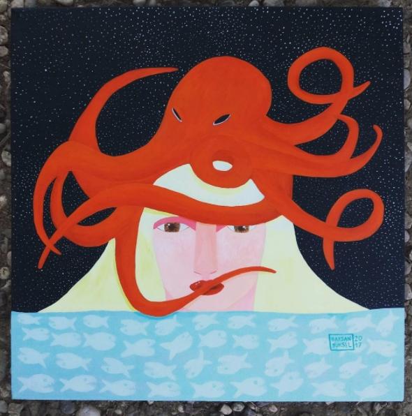 King Neptune, 50x50 cm, Acrylic - baysanyuksel | ello