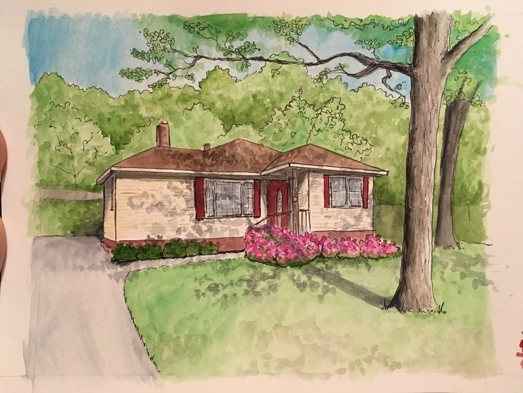 Home portrait commission. Ink w - tamarapaints   ello